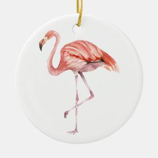 Pink Flamingo Round Ceramic Ornament