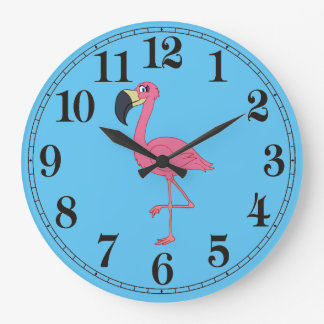 Pink Flamingo Round (Large) Wall Clock