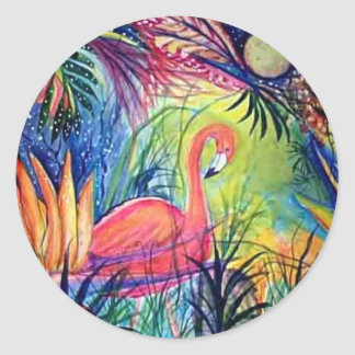 Pink Flamingo Sanibel Midnight Watercolor Painting Classic Round Sticker