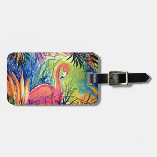 Pink Flamingo Sanibel Midnight Watercolor Painting Luggage Tag