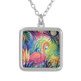 Pink Flamingo Sanibel Midnight Watercolor Painting Silver Plated Necklace