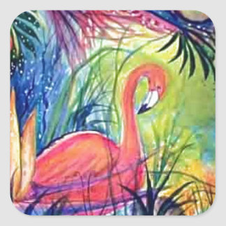 Pink Flamingo Sanibel Midnight Watercolor Painting Square Sticker