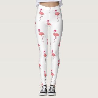 Pink Flamingo Santa Claus Pattern Leggings