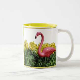 Pink Flamingo, Show me your garden and I shall ... Two-Tone Coffee Mug