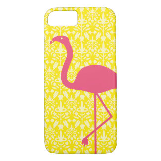 Pink Flamingo Silhouette On Yellow iPhone 8/7 Case