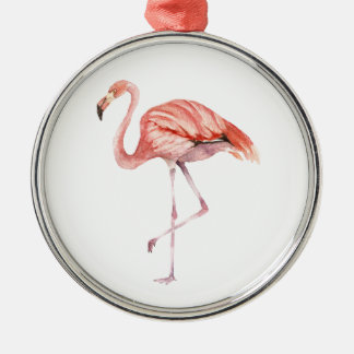 Pink Flamingo Silver-Colored Round Ornament