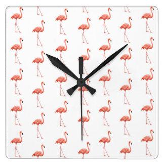 Pink Flamingo Simple Pattern Wallclock