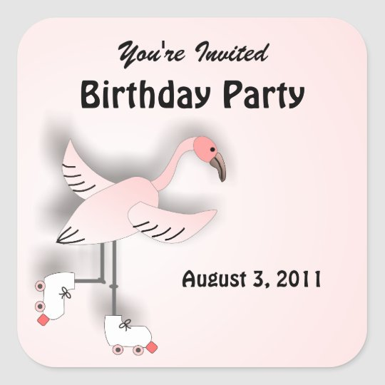 Pink Flamingo Skating Party Stickers