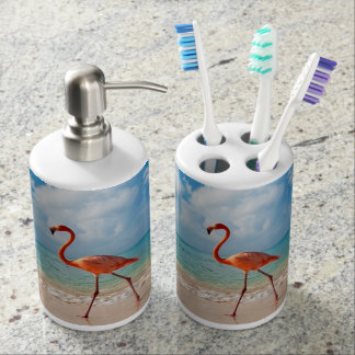 Pink Flamingo Soap Dispenser And Toothbrush Holder