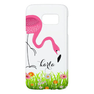 Pink Flamingo & Spring Flowers Samsung Galaxy S7 Case