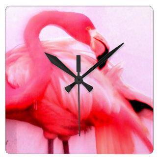 Pink Flamingo Square Wall Clock