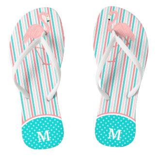 Pink Flamingo Stripe Monogram Flip Flops