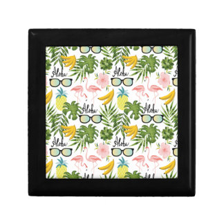 Pink Flamingo Sunglasses Tropical Aloha Pattern Gift Box