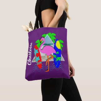 Pink Flamingo Surfing Surf Boards Personalized Tote Bag