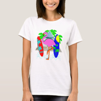 Pink Flamingo Surfing Surf Boards Summer Graphic T-Shirt