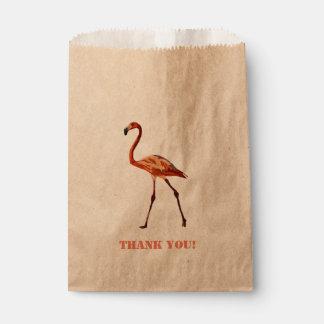Pink Flamingo Thank You Custom Kraft Favor Bag