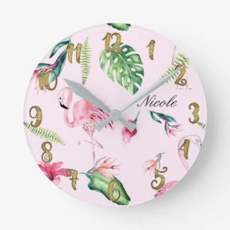 Pink Flamingo & Tropical Floral Leaves Custom Round Clock