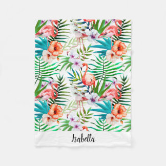 Pink Flamingo Tropical Floral Personalized Fleece Blanket