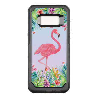 Pink Flamingo & Tropical Flowers Watercolors OtterBox Commuter Samsung Galaxy S8 Case