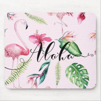 Pink Flamingo Tropical Hibiscus Floral Aloha Mouse Pad
