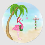 Pink Flamingo Tropical Holiday Round Stickers