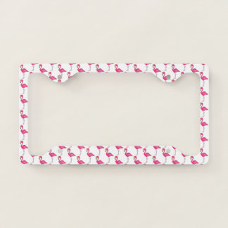 Pink Flamingo Tropical Island Bird Print Flamingos License Plate Frame