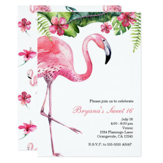 Pink Flamingo Tropical Summer Party Invitations