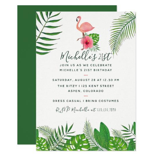 Pink Flamingo Tropical Watercolor 21st Birthday Card