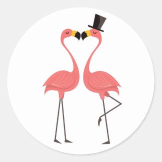Pink Flamingo Tropical Wedding Luau Hawaiian Classic Round Sticker