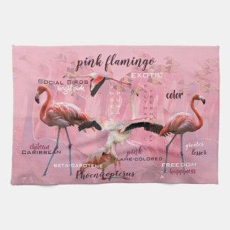Pink Flamingo Typography   Customized Kitchen Towel