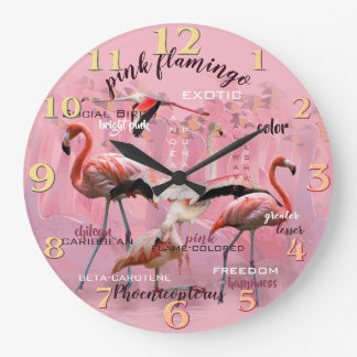 Pink Flamingo Typography | Customized Large Clock