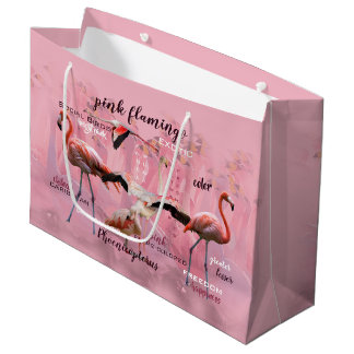 Pink Flamingo Typography | Customized Large Gift Bag
