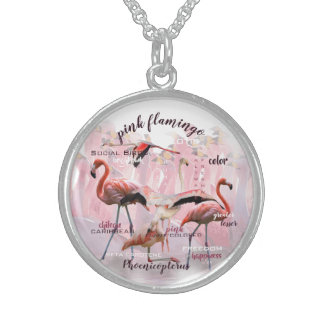 Pink Flamingo Typography | Customized Sterling Silver Necklace