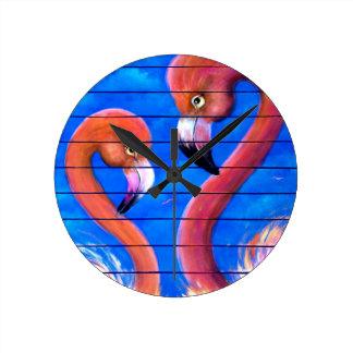 Pink Flamingo w Blue Wall Clocks