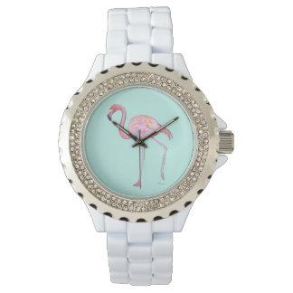 Pink Flamingo Watch - Mint green