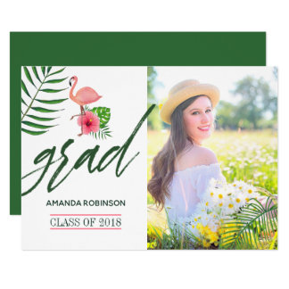 Pink Flamingo Watercolor Luau Grad Announcement