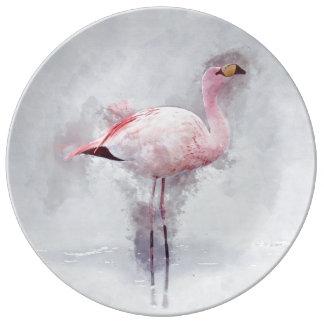 Pink Flamingo Watercolor Plate