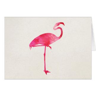 Pink Flamingo Watercolor Silhouette Florida Birds Card