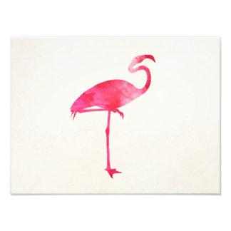 Pink Flamingo Watercolor Silhouette Florida Birds Photographic Print