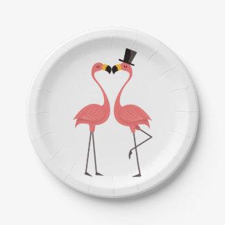 Pink Flamingo Wedding Bridal Shower Love Luau Paper Plate