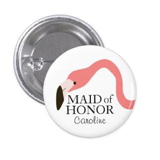 Pink Flamingo Whimsy Maid of Honour 1 Inch Round Button