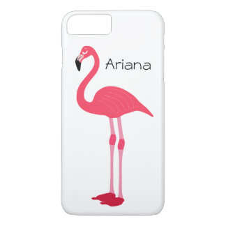 Pink Flamingo White Custom name iPhone 7 Plus Case