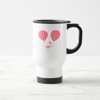 Pink Flamingo with Balloons Travel Mug