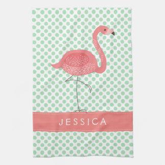 Pink Flamingo With White & Mint-Green Polkadot Towel