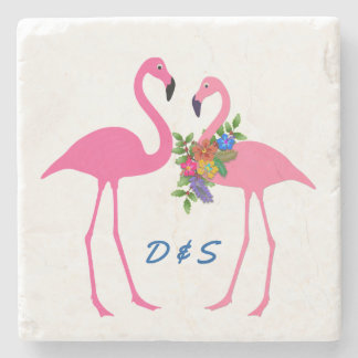 Pink Flamingoes Couples Initials Stone Coaster