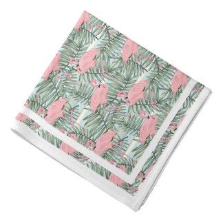 Pink Flamingoes Palm Leafs Pattern Bandana