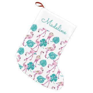 Pink Flamingos | Add Your Name Small Christmas Stocking
