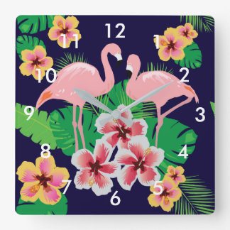 Pink Flamingos and Tropical Flowers Wall Clock