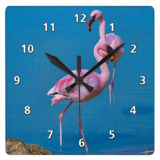 Pink Flamingos at the Lake Square Wall Clock