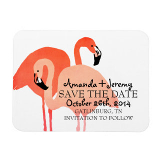 Pink Flamingos Beach Save The Date Magnet